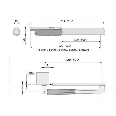 CAME ATI 5024N 001A5024N привод линейный для распашных ворот до 1000 кг