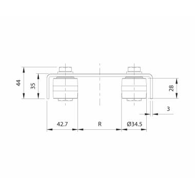 CAME 247 скоба направляющая с 2 роликами